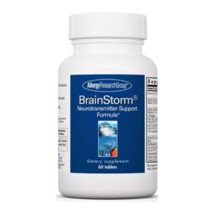 a bottle of BrainStrom brain supplement