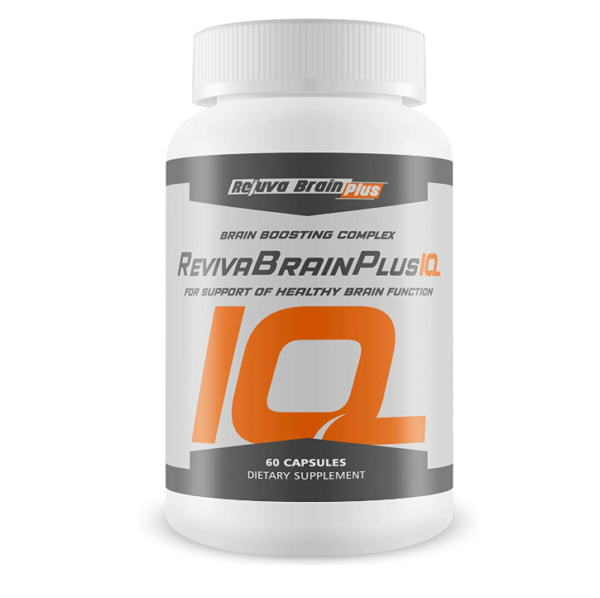 a bottle of Reviva Brain Plus IQ brain supplement