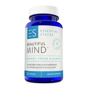 a bottle Beautiful mind brain supplement