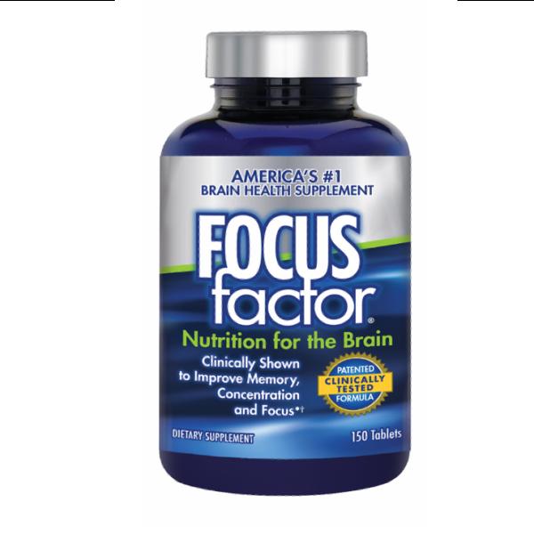 a bottle of Focus Factor brain supplement