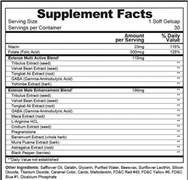 a Extenze ingredients, supplement facts