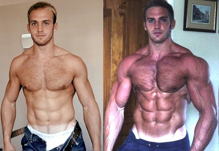 A body transformation of a muscly man