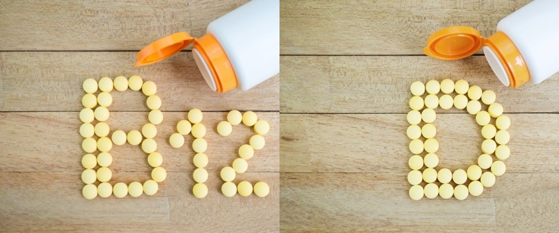 Pills spelling B12 and D