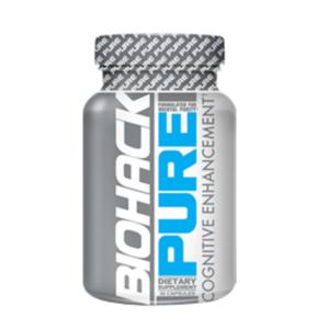 a bottle of Biohack Pure brain supplement