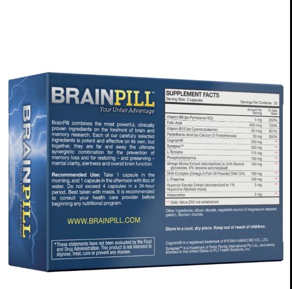 a ingredients list of BrainPill your unfair advantage