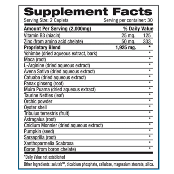 a MaxSize supplement facts