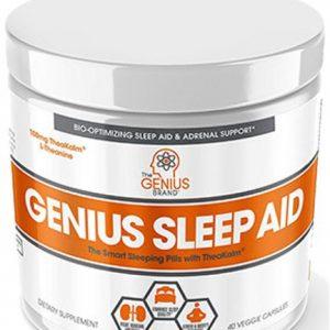 A bottle of Genius sleep aid (A sleeping pill bottle)