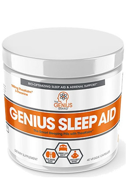 A bottle of Genius sleep aid (A sleeping pill bottle)