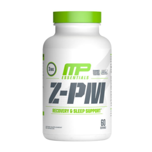 a bottle of musclepharm z-pm recovery and sleep support supplement