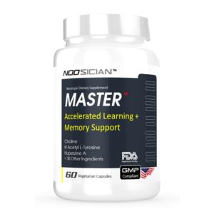 a bottle of Master brain supplement bottle