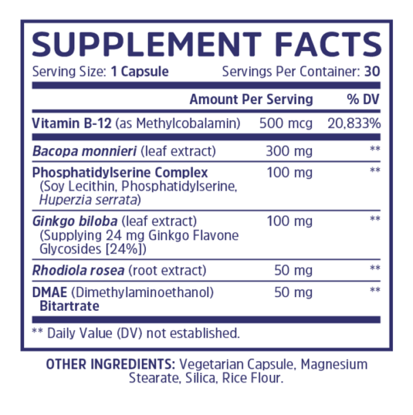 a supplement facts of Neuro Peak brain supplement