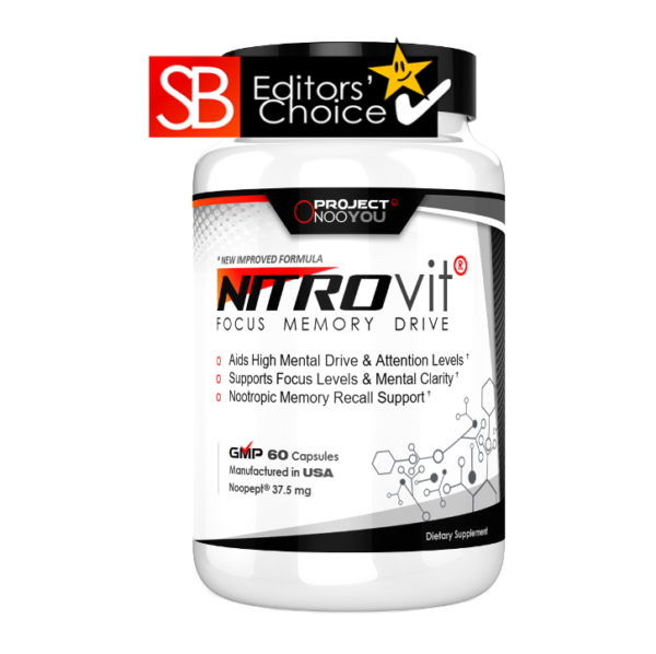 a bottle of Nitrovit editors' choice brain supplement